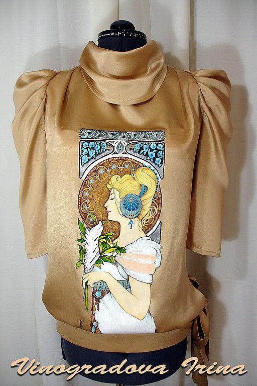 """Блузки ручной работы. Ярмарка Мастеров - ручная работа. Купить Блузон """"Шелковый водопад"""". Handmade. Блузка женская"""