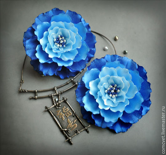 """Заколки ручной работы. Ярмарка Мастеров - ручная работа. Купить Резинки для волос """"Синяя ночь"""". Handmade. Синий, цветы в прическу"""