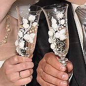 Свадебный салон ручной работы. Ярмарка Мастеров - ручная работа Свадебные бокалы «Любовь». Handmade.