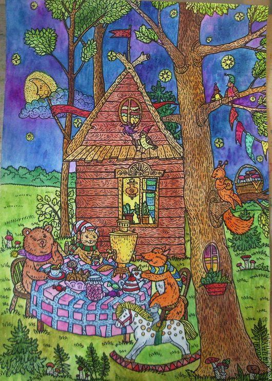 Фантазийные сюжеты ручной работы. Ярмарка Мастеров - ручная работа. Купить Дом в лесу. Handmade. Комбинированный, Картина для детской