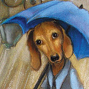 Открытки handmade. Livemaster - original item Dog Dachshund and the Rain Postcard. Handmade.