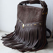 Сумки и аксессуары handmade. Livemaster - original item Bag leather boho fringe. Handmade.
