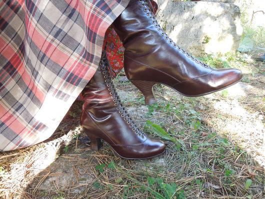 Одежда ручной работы. Ярмарка Мастеров - ручная работа. Купить полусапожки на шнуровке в русском стиле. Handmade. Сапожки, ботинки
