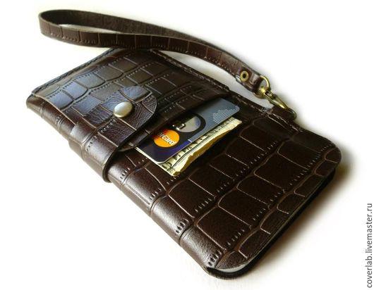 Для телефонов ручной работы. Ярмарка Мастеров - ручная работа. Купить Чехол на iPhone,Galaxy Кожа Коричневый крокодил Ручная работ. Handmade.