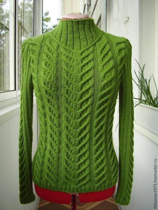 """Кофты и свитера ручной работы. Ярмарка Мастеров - ручная работа. Купить Пуловер """"Зеленый луг"""". Handmade. Зеленый, пуловер с косами"""