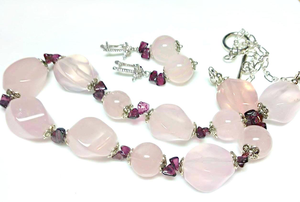 Rose quartz beads and earrings Happiness women, Jewelry Sets, Tuchkovo,  Фото №1
