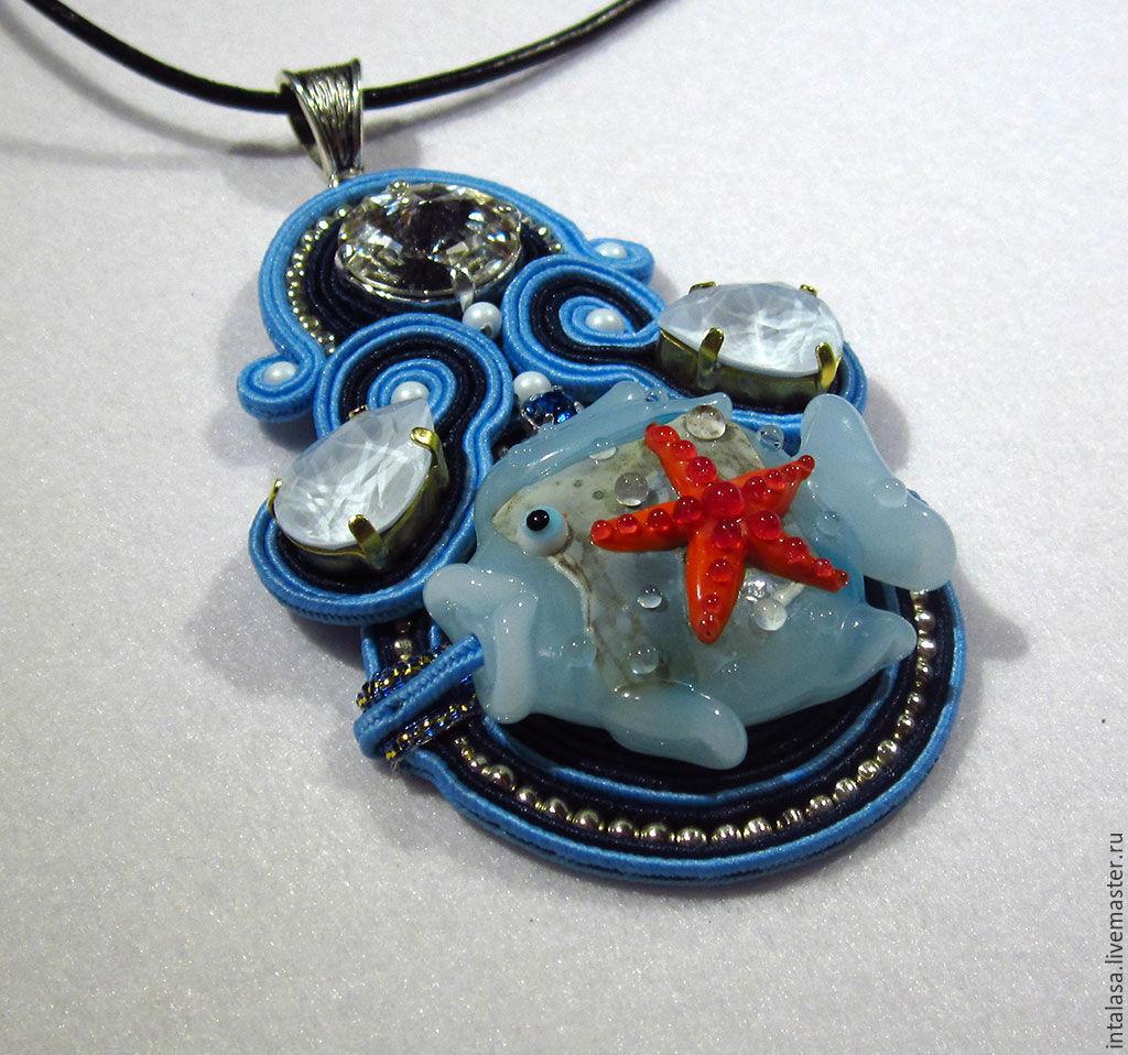Soutache pendant with copyright lampworks `Sea circle`