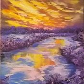 Картины и панно handmade. Livemaster - original item Oil painting sunset 50/40