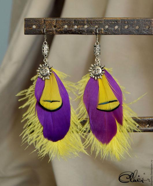 """Серьги ручной работы. Ярмарка Мастеров - ручная работа. Купить Серьги с перьями """"Солнца"""". Handmade. Фиолетовый цвет, желтый цвет"""