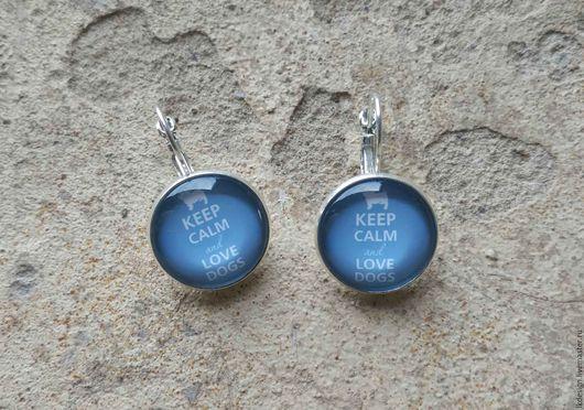 Серьги ручной работы. Ярмарка Мастеров - ручная работа. Купить Серьги посеребренные Keep calm (blue). Handmade. Голубой, украшение