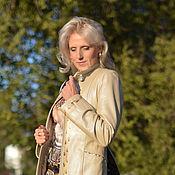 Одежда ручной работы. Ярмарка Мастеров - ручная работа Пальто женское кожаное лилия. Handmade.