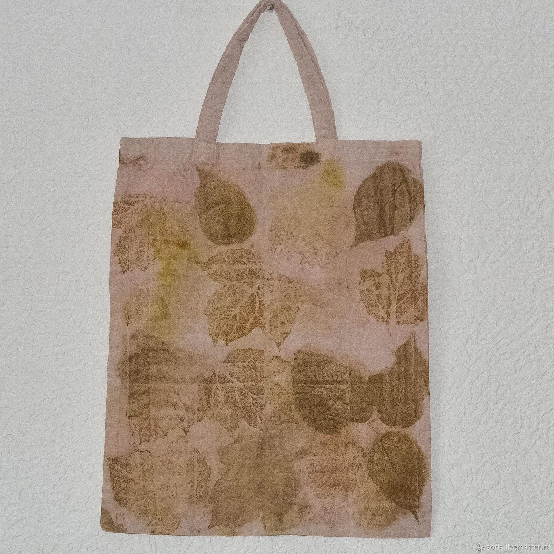 Эко сумка из льна ботаник принт