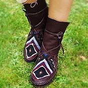 """Обувь ручной работы. Ярмарка Мастеров - ручная работа Короткие кожаные мокасины """"Native Dream"""". Handmade."""