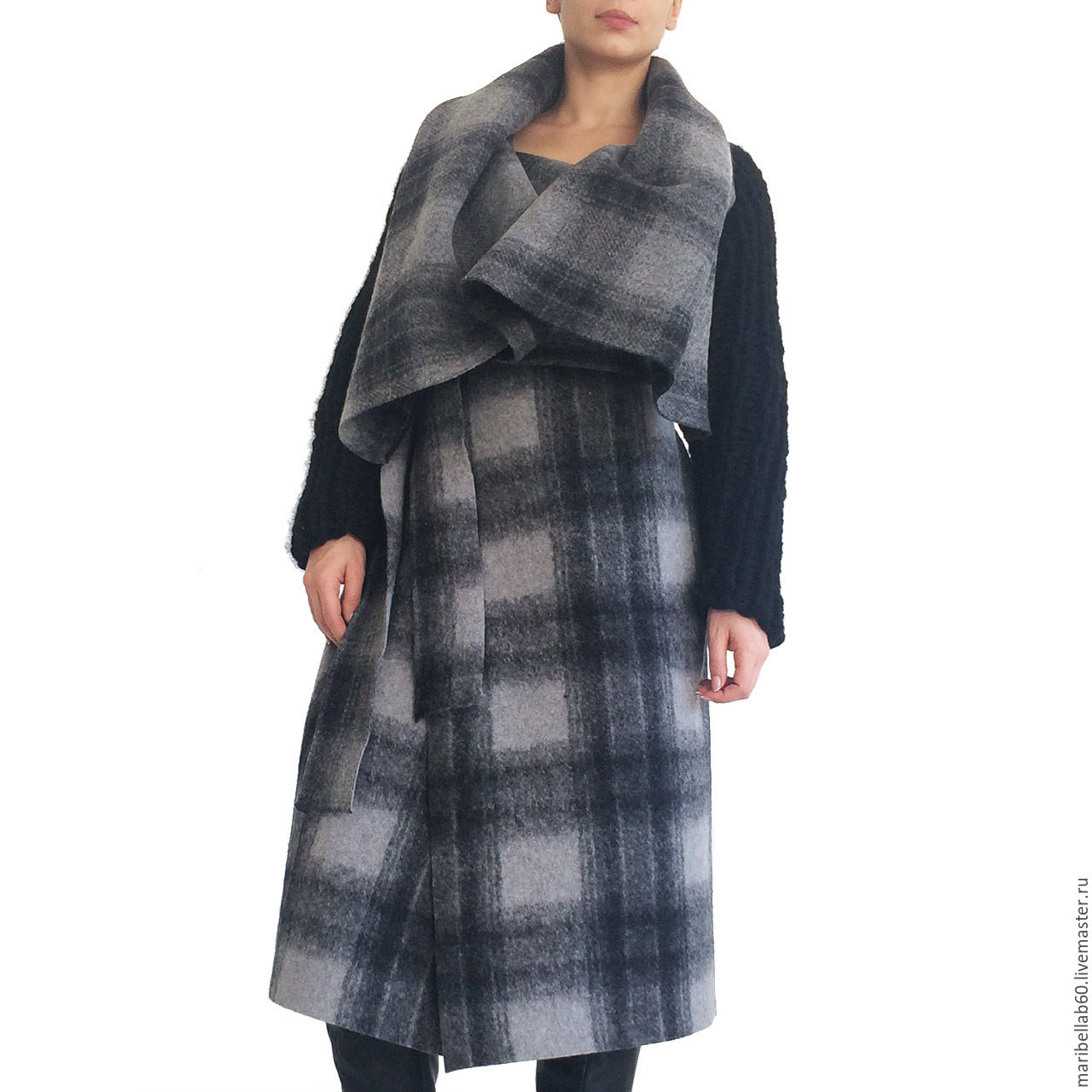 Coat with large hood,in a cage SAMURAI CHECKED, Coats, Sofia,  Фото №1