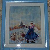 """Картины и панно ручной работы. Ярмарка Мастеров - ручная работа ретро картина """"Девочка с козочкой"""". Handmade."""