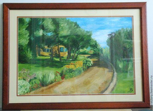 """Пейзаж ручной работы. Ярмарка Мастеров - ручная работа. Купить Картина """"Провинция"""". Handmade. Зеленый, картина для интерьера, пейзаж, дорога"""