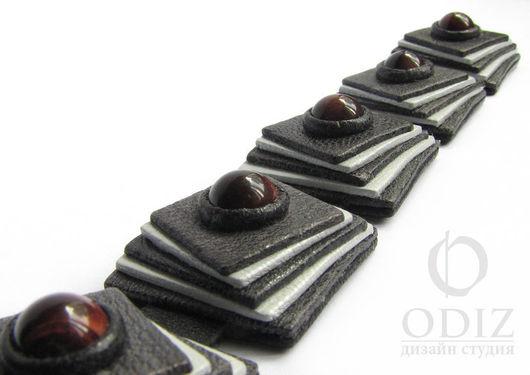 """Браслет из кожи и бусин тигрового глаза. Дизайн-студия """"ODIZ"""". Handmade браслеты"""
