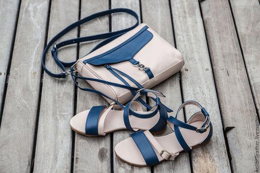 Обувь ручной работы. Ярмарка Мастеров - ручная работа. Купить Женские сандалии из натруальной кожи Nicole. Handmade. Тёмно-синий