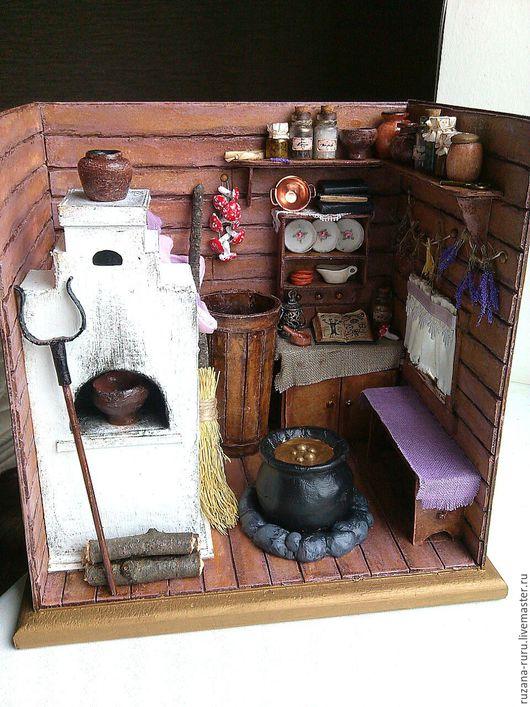 """Кукольный дом ручной работы. Ярмарка Мастеров - ручная работа. Купить Румбокс """"Избушка Бабы Яги"""". Handmade. Коричневый, миниатюра"""