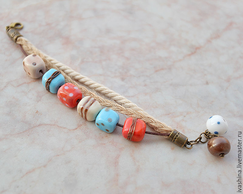 Браслет Морские камешки, Браслет из бусин, Светлогорск,  Фото №1