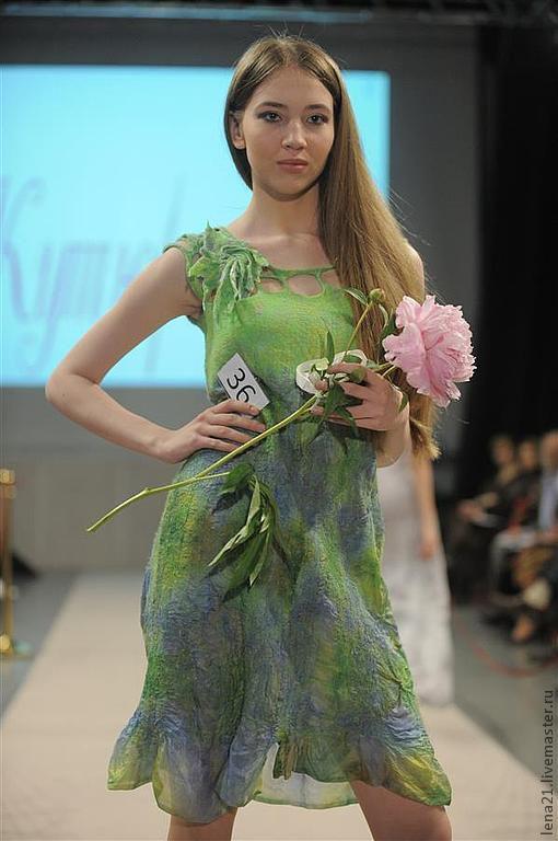 Платья ручной работы. Ярмарка Мастеров - ручная работа. Купить Платье зеленое с синим 36. Handmade. Зеленый, шерсть меринос