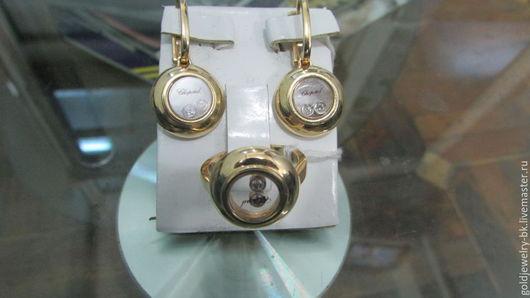 Кольца ручной работы. Ярмарка Мастеров - ручная работа. Купить Роскошный Комплект золотое кольцо серьги с бриллиантами. Handmade. хандмейд