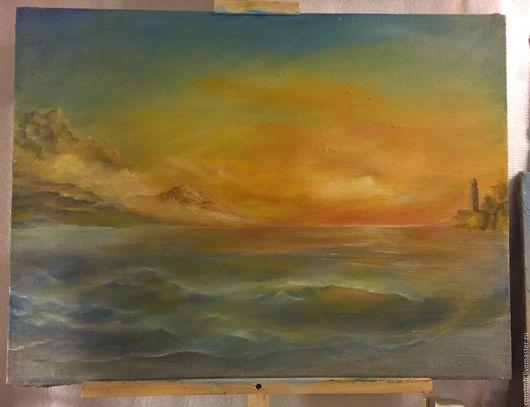 Пейзаж ручной работы. Ярмарка Мастеров - ручная работа. Купить Закат на море. Handmade. Море, закат на море, маяк, золотой