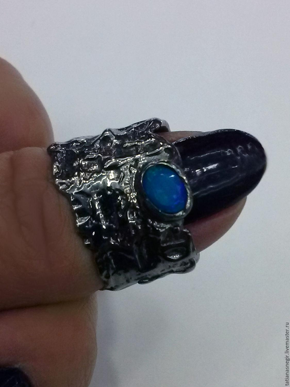 Rings handmade. Livemaster - handmade. Buy Ring with blue natural opal 925 sterling silver.Blue, ring handmade