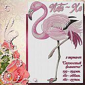 Материалы для творчества handmade. Livemaster - original item Satin Flamingo. Design in machine embroidery. Handmade.