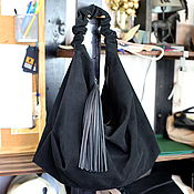 Сумки и аксессуары handmade. Livemaster - original item Black suede bag hobo shopper bag suede Bag large tassel. Handmade.
