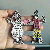 Украшения handmade. Livemaster - original item Badge for children`s drawing. Hand painted. Handmade.