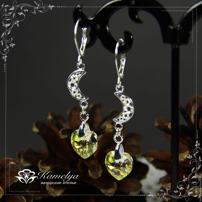 Heart earrings with Swarovski crystals 'moonlit night' 925 sterling silver, Earrings, Yaroslavl,  Фото №1