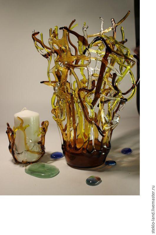 """Вазы ручной работы. Ярмарка Мастеров - ручная работа. Купить Декоративная ваза """"Безумство стеклянных нитей"""". Handmade. Комбинированный"""