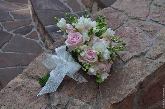 Букеты ручной работы. Ярмарка Мастеров - ручная работа. Купить Букет невесты из живых цветов  Нежность. Handmade. Бледно-розовый