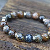 Украшения handmade. Livemaster - original item Bracelet for men NAMIBIA Petersit, silver PIYAO-Feng Shui. Handmade.