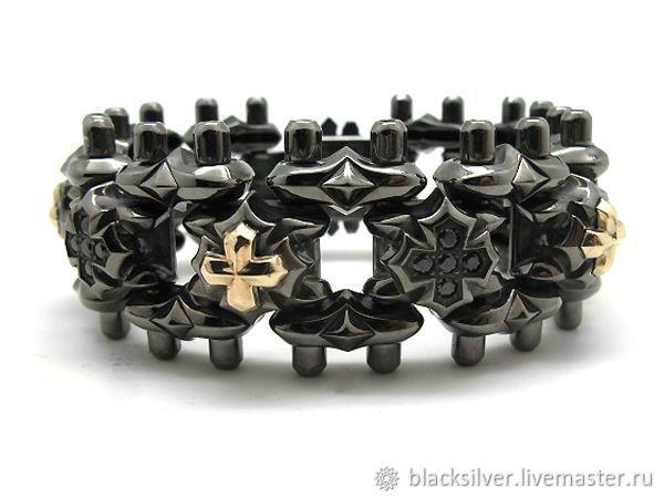 Украшения для мужчин, ручной работы. Ярмарка Мастеров - ручная работа. Купить Браслет из серебра Chester Cross AZB-028BRG. Handmade.