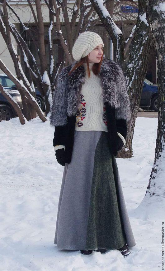 Юбки ручной работы. Ярмарка Мастеров - ручная работа. Купить Юбка зимняя мегатёплая. Handmade. Хаки, юбка на зиму