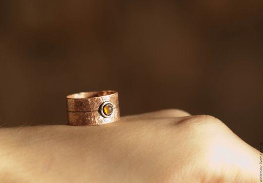 Кольца ручной работы. Ярмарка Мастеров - ручная работа. Купить Кольцо с сердоликом. Handmade. Широкое кольцо, текстурное кольцо, медь
