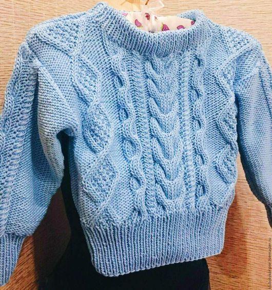 Одежда унисекс ручной работы. Ярмарка Мастеров - ручная работа. Купить Детский свитер Небесный2. Handmade. Голубой, детская одежда