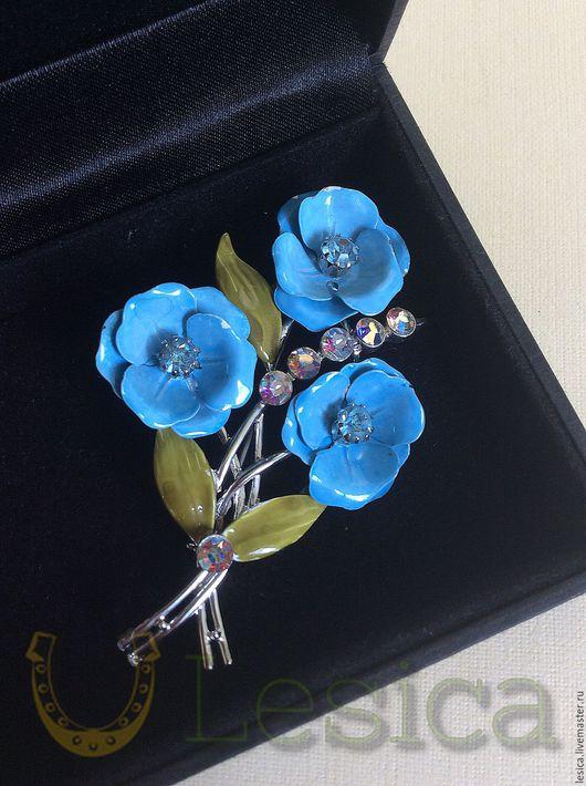 Винтажные украшения. Ярмарка Мастеров - ручная работа. Купить Коллекционная брошь Голубые цветы Coro Cша. Handmade. Комбинированный
