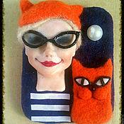 """Украшения ручной работы. Ярмарка Мастеров - ручная работа Портретная брошь """"Олеся и  кот"""". Handmade."""