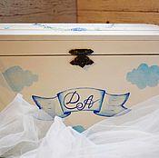 Свадебный салон ручной работы. Ярмарка Мастеров - ручная работа Cornflowers & clouds - свадебная казна сундучок для конвертов подарков. Handmade.