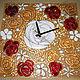 """Часы для дома ручной работы. Часы настенные """"Розы"""" стекло, фьюзинг. Лена Чистякова (lvch) фьюзинг. Интернет-магазин Ярмарка Мастеров."""