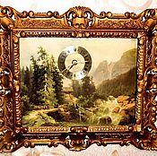 Vintage interior handmade. Livemaster - original item Wall clock-picture of Switzerland quartz 43h37 cm. Handmade.