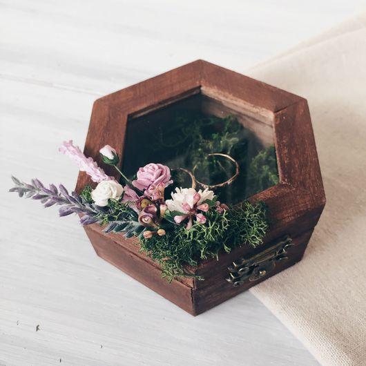 Свадебные аксессуары ручной работы. Ярмарка Мастеров - ручная работа. Купить Шкатулка для обручальных колец Lavender and moss. Handmade.