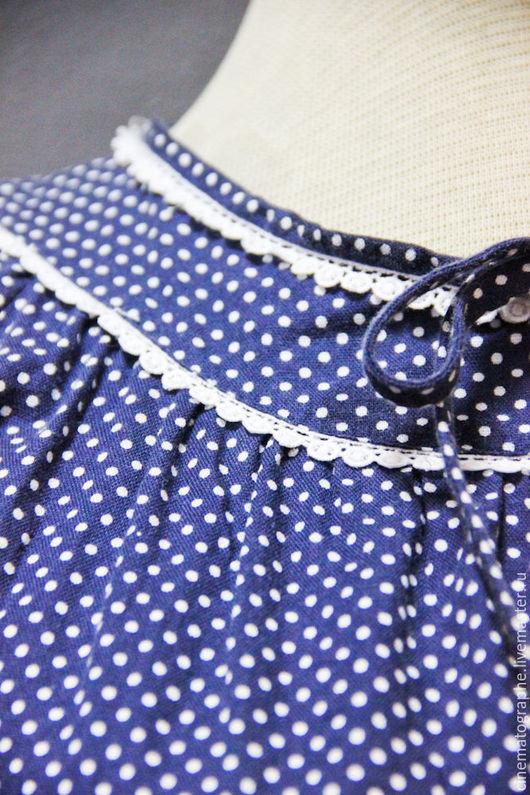 Одежда. Ярмарка Мастеров - ручная работа. Купить Платье 50-е годы Япония. Handmade. Тёмно-синий, горошек