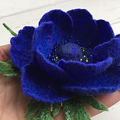 Украшения handmade. Livemaster - original item Brooch made of wool felt Blue anemone. Handmade.