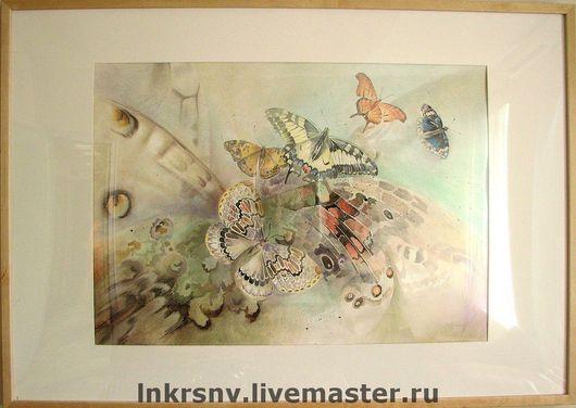 """Фантазийные сюжеты ручной работы. Ярмарка Мастеров - ручная работа. Купить Картина """"Бабочки"""". Handmade. Панно, бабочки, панно в подарок"""
