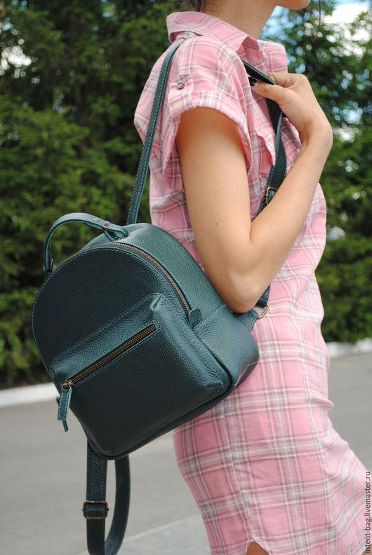 Рюкзаки ручной работы. Ярмарка Мастеров - ручная работа. Купить С034(green). Handmade. Тёмно-зелёный, рюкзак городской