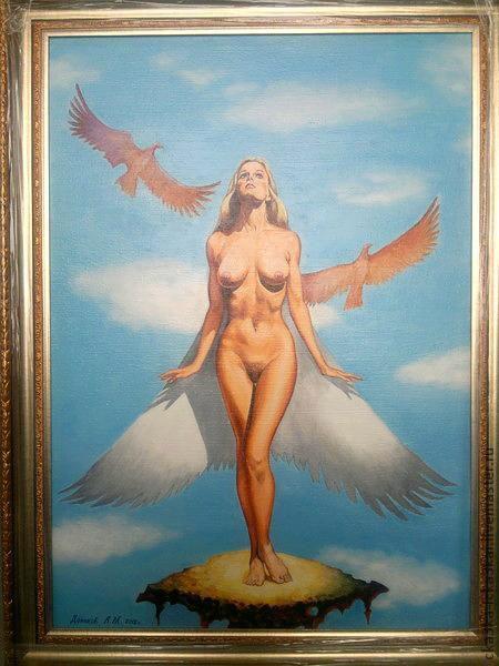 """картина """"богиня орлов"""".  картина на заказ 60х40 , ручная работа - холст, масло. 35тыс.руб. картина выполнена на холсте размером 60х40 масляными красками. фото сделано со вспышкой"""